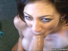 Sluty brunette milf tastes her own pussy juices from hard thick cock.