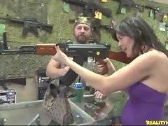 Naughty busty milf gets so much excited feeling big gun in her arm.