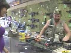 Milf comes to gun shop. She has not enough money but knows how to pay for all.