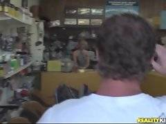 Dude comes to shoe store and meets pretty blonde shop assistant.