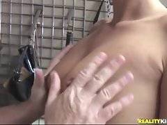 Naughty blonde milf gets sex action right on her workplace.