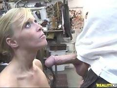 This nasty mature blonde knows how to suck cock and likes it.