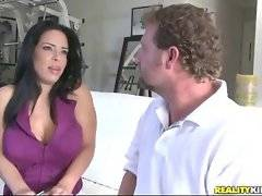 Hunter wants his hot teacher to change her clothes onto sexy suit.