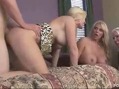 Naughty blonde moms like to have their pussies drilled hard.
