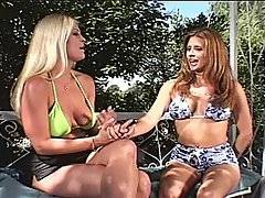 Pretty MILF Star Knight is interviewed outdoors by a bikinied blonde, answering questions about her sexual preferences. They\'re soon joined by Tyce, who starts to get to know Star better. He takes off Star\'s bikini top, exposing her nice natural tits. He lays her down on a swing and eats her out, licking her clit while fingering her pussy. She sucks his hard cock, blowing him as he moans in pleasure. She rides him reverse cowgirl, gasping in delight as his dick thrusts in and out of her snatch. He bends her over to fucks her doggy style, and then jumps on and rides him cowgirl. She kneels down taking a facial, his cum all over her face.