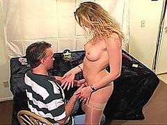 Cock hungry milf Hailey gets her dose of man meat in this hot mature porno clip.  The scene opens with her having her spreading her stocking-clad legs and letting her man get his fill of her slippery shaved pussy.  She runs her hands over her ripe melons and pulls his face further down into her crotch so he can grind his tongue against her clit.  She even gets out her favorite sex toy, instructing him on just how to make her feel good as he thrusts it up into her vaginal cavity.  Once she\'s come, she returns the favor by going down on her man\'s big veiny cock.  She sucks it to perfection and takes a huge cum load right in her mouth.