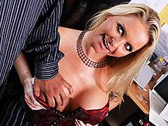 When your boss is a hot MILF with big tits like Maya Devine, it\'s pretty tough to turn down the invitation to fuck the shit out of her.  Our boy McLovin whips out his massive caramel colored rod for this cock-fiend whore to blow.  Maya has got some serious cock-sucking skills to go along with her thirst for the dick.  Her huge, but slightly lopsided titties make for some great cock-slapping and her shaved clam is just calling for a thick dick to get stuffed up in there.  Maya gets fucked like a good whore before McLovin dumps a fresh load of cum all over her face and boobs.