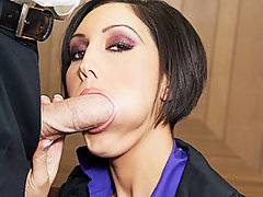 Female bosses can really be hard asses when it comes to male subordinates. Dylan Ryder is no exception, as she really lays into this guy for having an accent and getting complaints about his job performance. After listening to his excuses, she offers him a deal; if he wants to keep his job, he needs to take out that cock for her and give the boss a good fucking! He gives her his dick to suck on, as she shows his power over him by making him do whatever she wants. She has him lick her pussy, and then slide his cock inside of her on the desk. He fucks her as if his job depended on it (which it did), and then covers the boss in his jizz.