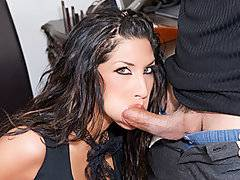 Kayla Carerra needs to make some money in a hurry, so she ends up in Sergio's office. Even before she steps foot in there she knows she's going to do whatever it takes to make a buck, and that involves her getting down on her knees and opening up her mouth wide. She loves to work that cock all the way down her throat, and you're going to love taking a look at those marvelous titties. I would titty fuck those all day long, especially if she started making the noises that she's making in this particular scene.