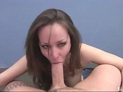 Horny fallow pushes panties inside milf`s pink pussy.