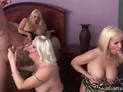 Breasted blonde mammas give skilful blowjob to two dudes.