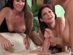 Cock loving mature babes hungrily suck one guy.