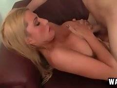 Lovely blonde and her tough step son are passionately fucking.