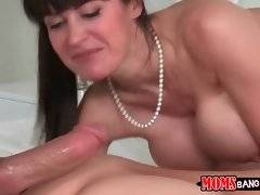 Hungry breasted milf waits for her turn while her step daughter is fucked.