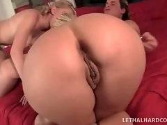Naughty girl and her awesome mom give guy great blowjob.