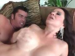 Cute tough stud and stunning mature brunette are fucking.